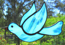 ARCTIC BLUE DOVE stained glass SUNCATCHER WINDOW DECORATION BIRD HAND CRAFTED