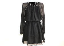 MANGO Mini Kleid Punkte L elegant Langarm schwarz transparent elastisch TOP  #26