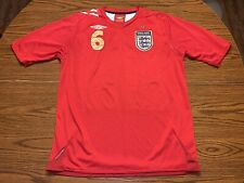 Umbro England Football #6 John Terry 2006 Away Soccer Jersey Size Large Red