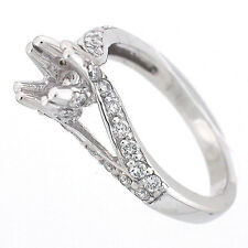 Vintage Split  Shank Diamond Semi Mount Engagement Ring Setting 0.70 Ctw -14k