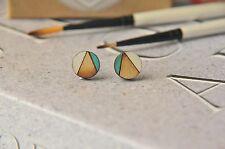 Geometric Pattern Wooden Lasercut Round Stud Earrings handpainted