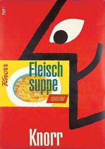 Originale Vintage Poster Celestino Piatti Knorr Zuppa Brodo Svizzera 1955