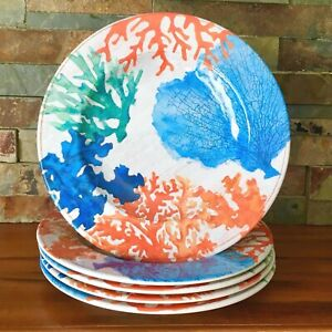 "Gorgeous! ~ Coral Reef ~ Melamine Plates 8.5"" ~ Pier 1 Imports ~ Set Of 5"