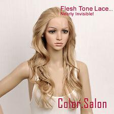 Hand Tied couleur de la peau Lace Front Synthétique Perruque Blond 92#613M27 (F)