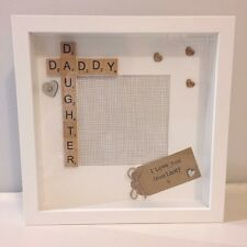 Handmade & Personalised Fathers Day Gift Frame - Daddy Daughter Scrabble
