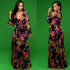 Women's Summer Boho Long Maxi Evening Party Beach Dress Floral Sundress Size L