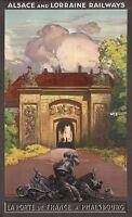 "Vintage Illustrated Travel Poster CANVAS PRINT La Port De france 24""X18"""