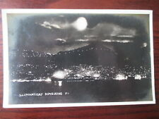 HONG KONG  NIGHT SCENE  VINTAGE 1920s RP POSTCARD