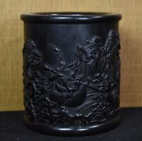 Collect ebony wood carved 8 Immortals crossing sea Chinese Brush Pot Pencil Vase