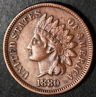 1880 INDIAN HEAD CENT - With LIBERTY - Near XF EF