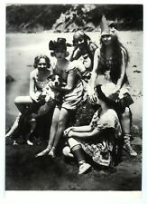 1920s VINTAGE BATHING BEAUTIES PIN-UP GIRLS with DOG on BEACH~NEW 1974 POSTCARD