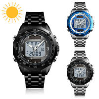 Men's Solar Power Outdoor Digital Stainless Steel LED Analog Quartz Sport Watch