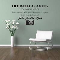 Life Is Like A Camera Decal WALL STICKER Lettering Home Decor Art Quote SQ132