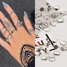 12Pcs/Set Silver Plated Elephant Rose Flower Cross Midi Finger Knuckle Rings