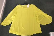 Rockmans: Size: 10. Modern Design Light-Weight, in Lime-Yellow, Split-Sleeve Top