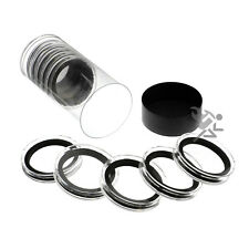 Elemetal Series Coin Holder Black Capsule Tube & 10 High Relief 40mm Black Rings