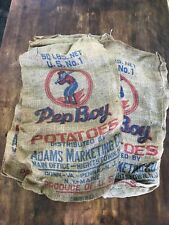 Vintage Burlap Potato Sack Yankees Baseball Memorabilia Hightstown NJ Sports Bag
