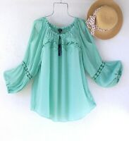 New~$68~Mint Green Peasant Blouse Crochet Lace Shirt Boho Plus Size Top~2X