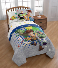 Toy Story 4 Twin / Full Bed Spread Cover Comforter Only w/ Buzz Lightyear Woody