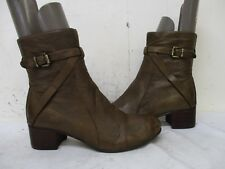 Coupleof Bates Brown Leather Zip Ankle Boots Womens Size 38 EUR