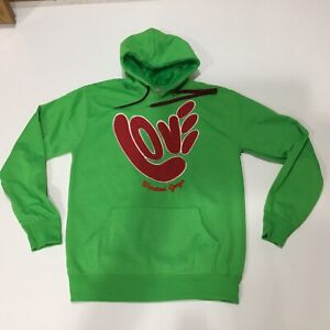 Wanted Guy Hoodie Pullover Love Applique Green Red Made In Italy