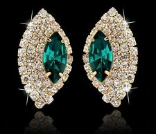 GORGEOUS 18K GOLD PLATED EMERALD GREEN AND CLEAR CUBIC ZIRCONIA EARRINGS