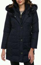 $300 WOMEN LARRY LEVINE BLUE DOWN COAT OUTERWEAR FAUX FUR TRIM 3/4 LENGTH  SZ L