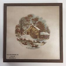 Currier & Ives Tile Trivet Wood Framed The Old Homestead In Winter Galena IL 90s