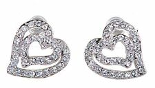 Swarovski Elements Crystal Heart In Heart Pierced Earrings Rhodium Plated 7102x