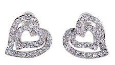 Swarovski Elements Crystal Heart In Heart Pierced Earrings Rhodium Plated 7102y