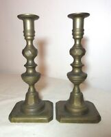 pair antique 19th century solid heavy brass candlesticks candle holders