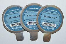 LOT OF 3 BATH & BODY WORKS BERGAMOT SCENTPORTABLE FRAGRANCE REFILL CAR CLIP DISC