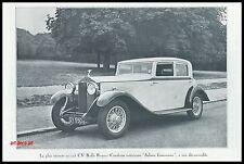 """PUBLICITE  ROLLS ROYCE """" SALOON LIMOUSINE """" AUTOMOBILE   CAR   AD  1932 -2H"""