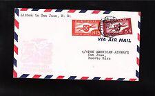 Portugal Air Mail Lisbon San Juan 1941 Pan Am Airway Cover Puerto Rico Bkstp ^