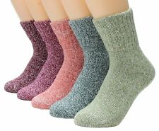 Womens 5 Pairs Vintage Style Winter Warm Thick Knit Wool Cozy Crew Socks NEW
