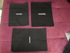 Original Chanel Staubbeutel / Dustbag 3 Stück schwarz Leinen/ Canvas 3 Größen