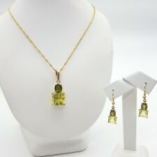 Ladies Peridot Set 9ct (375,9K)Yellow Gold Two-Piece Large Peridot Jewellery Set