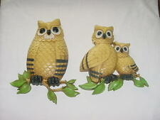 Rare Set Of 2 Owl Wall Plaques Dart Ind. Dated 1975 Usa Homco Home Interior