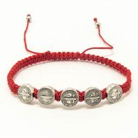 Saint St Benedict 5 Medals Bracelet Red Adjustable Pulsera Roja De San Benito