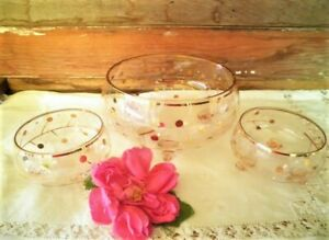 VINTAGE BOHEMIA GLASS BOWL DESSERT SET 3PC PINK GOLD SWEETS SET CZECH 1960'S