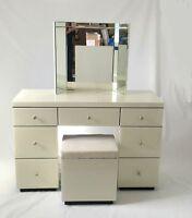 Cream Venetian Glass Large Dressing Table, Stool & Tri-fold Mirror Set