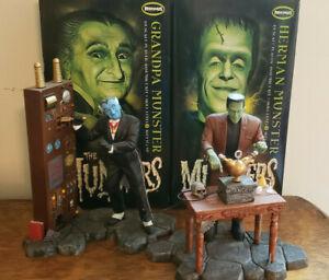 MOEBIUS HERMAN MUNSTER & GRANDPA MODEL KITS NICELY BUILT UP W/ BOXES