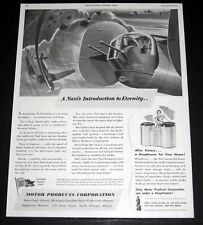 1943 WWII MAGAZINE PRINT AD, MOTOR PRODUCTS, A NAZI'S INTRODUCTION TO ETERNITY!