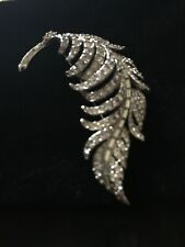 With White Crystals Vintage Brooch Silver Tone Leaf
