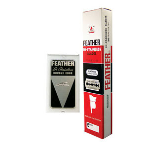 100 FEATHER Hi-Stainless Platinum Coated Double Edge Safety Razor Blades