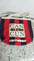VTG Cancun Sun Mexico Striped Bag with Zipper Souvenir Black and Red
