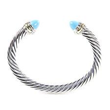 DAVID YURMAN Cable Classic Bracelet w/Cabochon Turquoise & 14K Gold 7mm $775 NEW