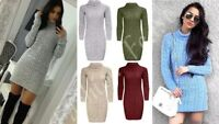 AS Womens Polo Cowl Neck Jumper Dress Ladies Cable Knitted Long Sleeve Plain Top