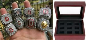 8pc Ohio State Buckeyes National Team Ring Set With Wooden Box Fan Gift Souvenir