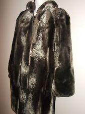 Warm Reversible Faux Fur and Moleskin Brown Winter Coat Long Sleeves